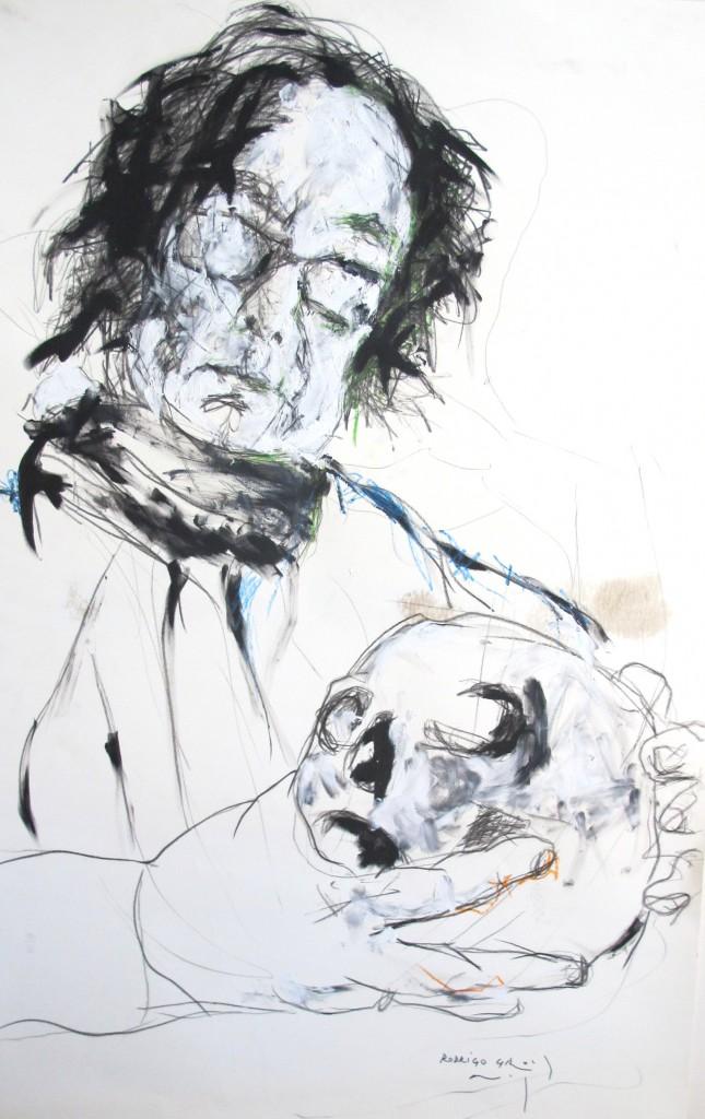 Retrato de Ignacio del Valle realizado por Rodrigo Gross, técnica mixta, lápiz, plumilla, óleo y cera  sobre papel